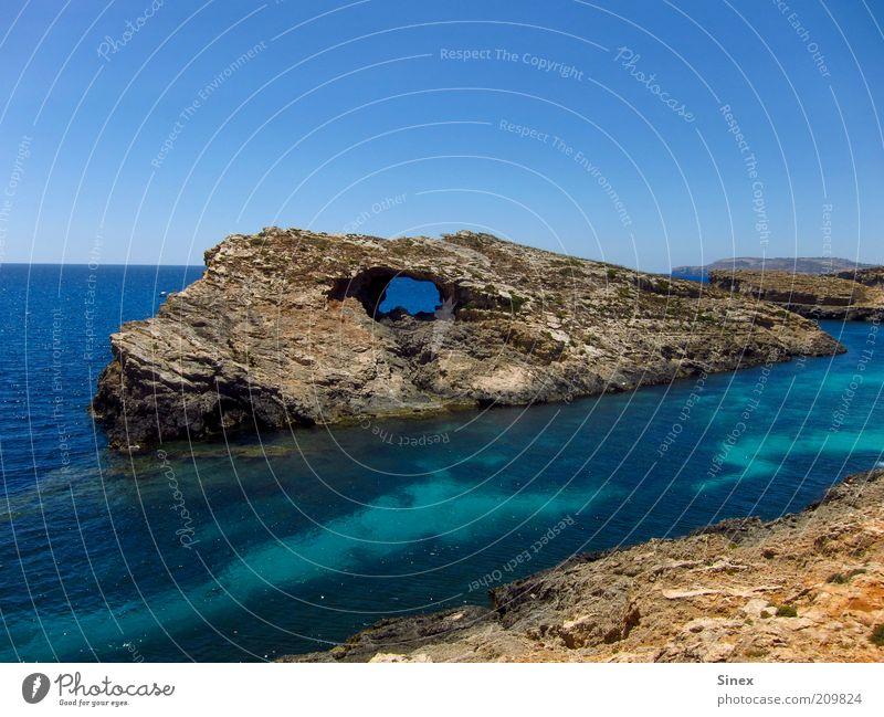 dinosaur eye Nature Landscape Water Summer Rock Coast Bay Ocean Fantastic Firm Calm rock-eye Rock formation prehistoric rock Comino Gozo Malta Colour photo