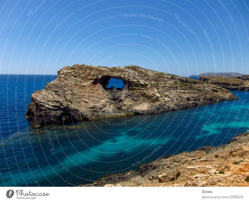 Nature Water Ocean Summer Calm Landscape Coast Rock Island Travel photography Fantastic Firm Bay Hollow Whimsical Blue sky
