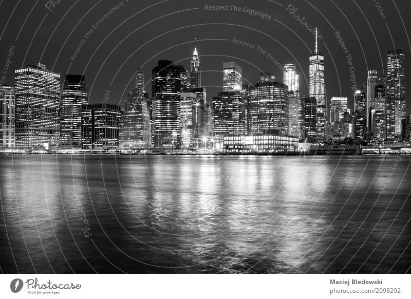 New York City skyline Vacation & Travel Town White Black Architecture Building Business Office High-rise USA Illuminate Symbols and metaphors Skyline Downtown