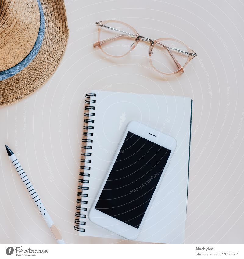 Flat lay of workspace Vacation & Travel Summer Colour Beautiful Lifestyle Style Fashion Design Copy Space Bright Leisure and hobbies Decoration Modern