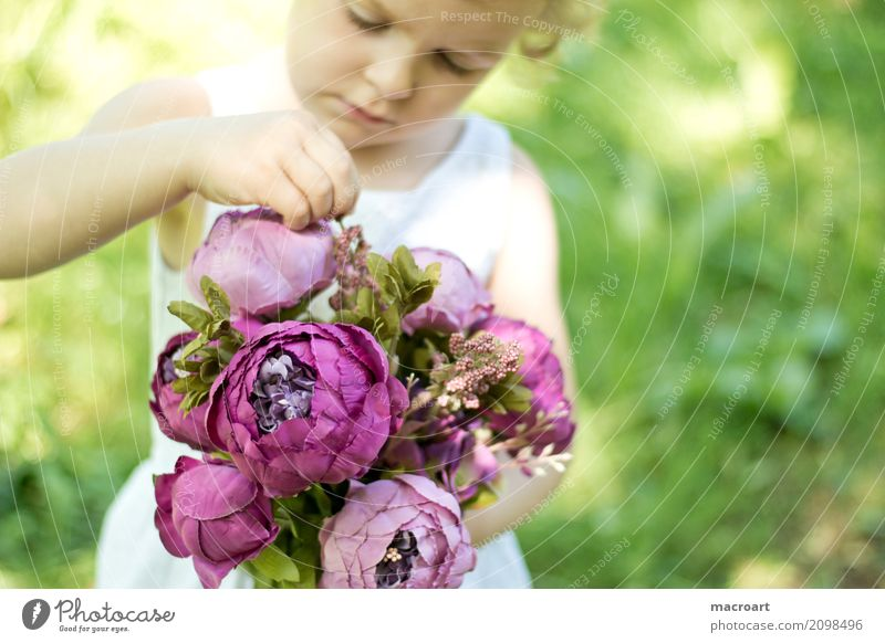 bouquet Bouquet flower girl Girl Child Toddler Pink Summer Flower Floristry Gift Donate Comprehend Study Emotions Touch Experience White Dress Mother's Day