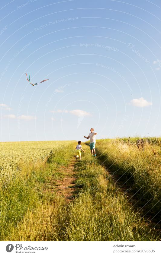 It's the most beautiful outdoors. Leisure and hobbies Playing Summer Masculine 2 Human being Nature Field Kite Observe Movement Flying Walking Running Looking