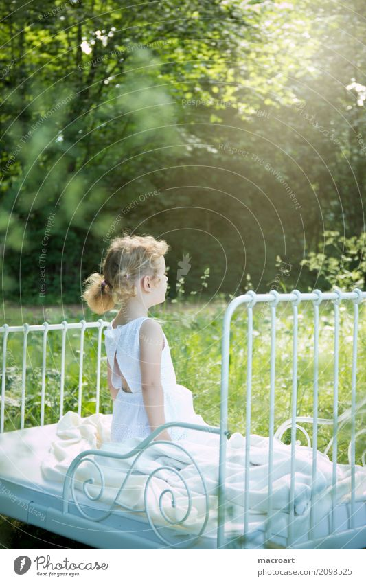 summer Summer Spring Child Toddler Girl Fairy Delicate Fairy tale Fantastic White Dress Beautiful Sweet Grass Meadow Exterior shot Park Field Sunbeam Radiation