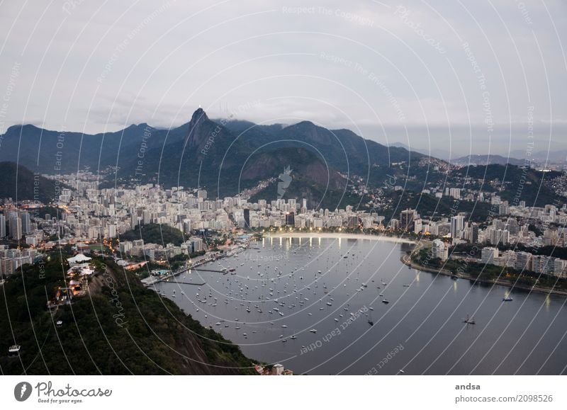 Rio De Janeiro Vacation & Travel Tourism Trip Adventure Far-off places Freedom Sightseeing City trip Mountain Clouds Night sky Bad weather Hill Coast Beach Bay
