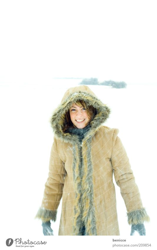 winter joy Woman Human being Snow Winter Laughter Smiling Joy Coat Winter coat Hooded (clothing) Beautiful Nature Winter vacation Vacation & Travel Attractive