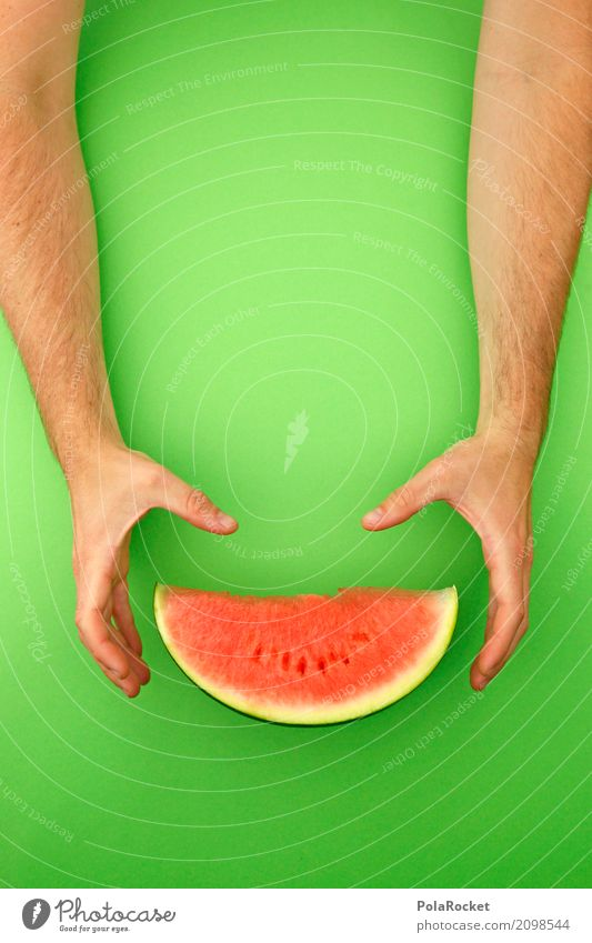 #AS# The melon! Art Work of art Esthetic Green Derby Melon Melone slice Grasp Delicious Healthy Healthy Eating Fruit Hand To hold on Red Refreshment Own