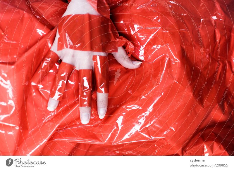 I'll be RED. Style Design Human being Hand Esthetic Bizarre Mysterious Idea Uniqueness Inspiration Creativity Red Plastered Adhesive tape Emotions Touch
