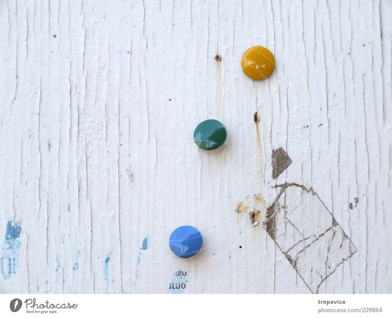 White Green Blue Yellow Dirty Background picture Trashy Wooden wall Bulletin board Thumbtack Scrap of paper