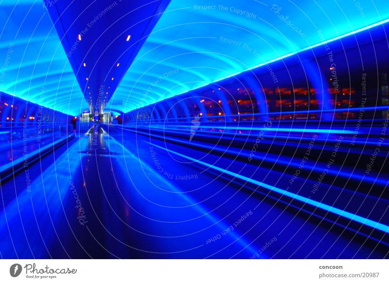 Cool Britannia Manchester England Great Britain Future Futurism Light Europe Blue Airport Lighting stylish Movement motion