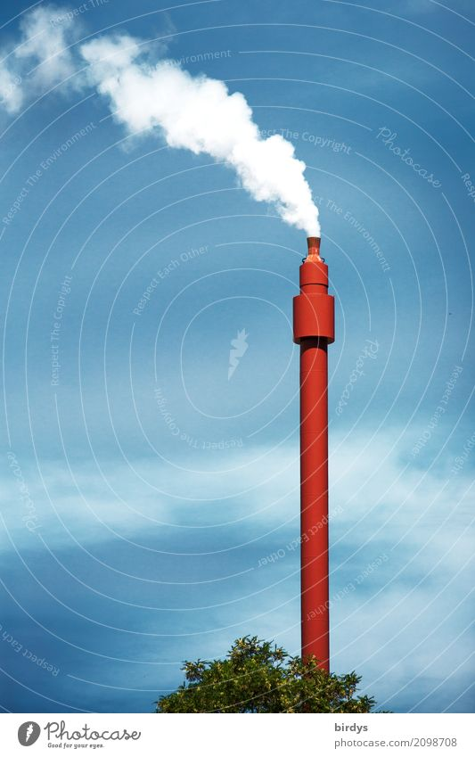 Crematorium ? Energy industry Sky Climate change Industrial plant Tower Chimney Smoke Smoking Esthetic Tall Thin Blue Red White Fear of the future Threat