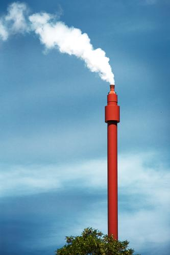 Sky Blue White Red Energy industry Esthetic Tall Threat Tower Fear of the future Thin Smoke Smoking Exhaust gas Chimney