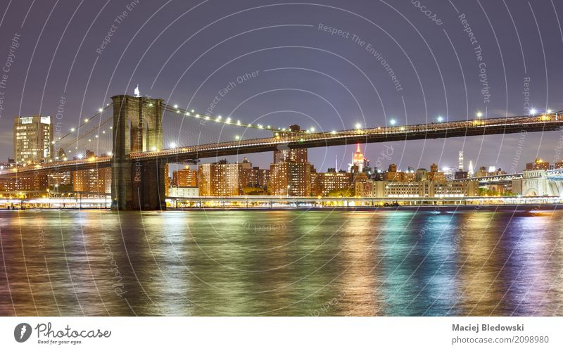 Panoramic photo of the Brooklyn Bridge. River Downtown Skyline Architecture Town New York City panoramic landmark East River panorama Manhattan cityscape