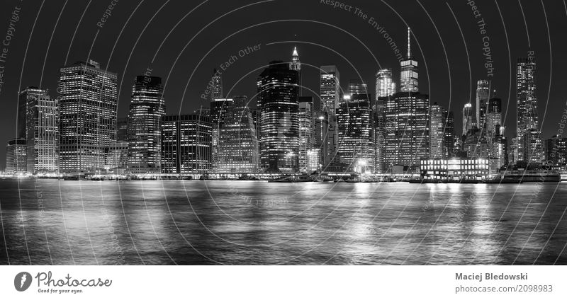 Panoramic picture of Manhattan at night, New York City, USA. Vacation & Travel Town White Black Business Tourism High-rise Illustration Illuminate