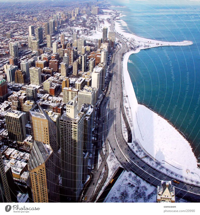 Winter Concrete High-rise USA Skyline Wisconsin Chicago North America Illinois Lake Michigan