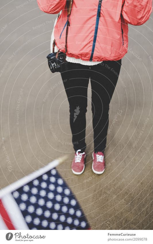 Human being Woman Vacation & Travel Youth (Young adults) Young woman Red Beach 18 - 30 years Travel photography Adults Feminine Tourism Sand USA Adventure Flag