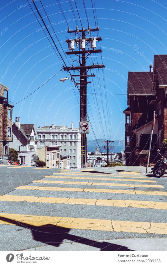 Roadtrip West Coast USA (256) Town Port City Vacation & Travel San Francisco Hill Electricity pylon Pedestrian crossing Zebra crossing Yellow Summer Sunbeam