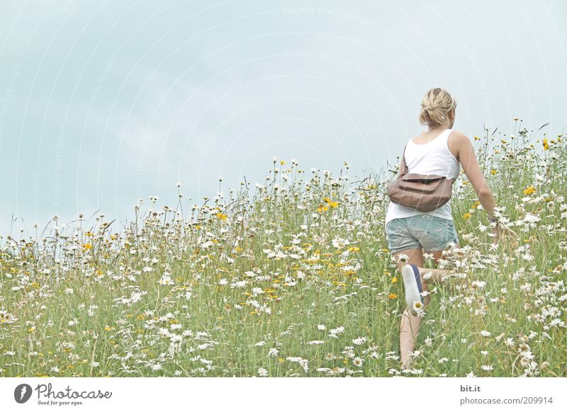 Sky Nature Youth (Young adults) Flower Summer Calm Feminine Meadow Landscape Freedom Mountain Field Blonde Trip Hiking