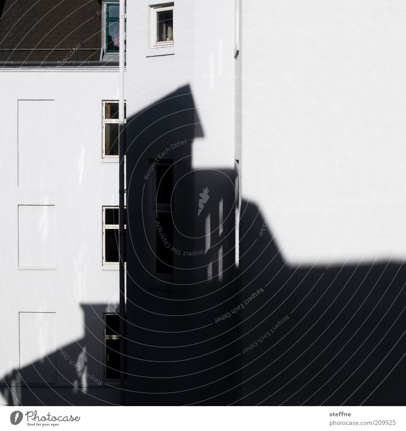 shaded Town House (Residential Structure) Wall (barrier) Wall (building) Facade Window Arrangement Black & white photo Exterior shot Light Shadow Contrast