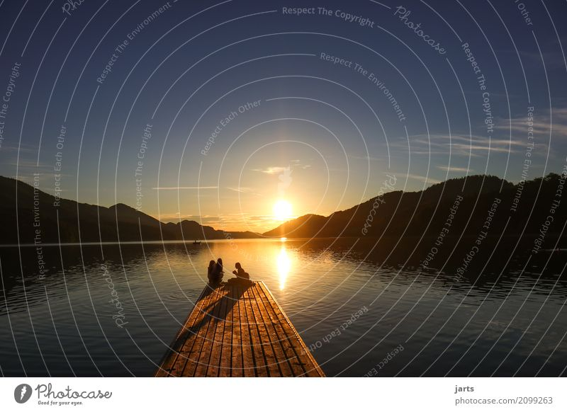 sunset at the lake Human being Feminine 3 Sunrise Sunset Summer Beautiful weather Hill Lake Sit Glittering Natural Serene Patient Calm Hope Relaxation