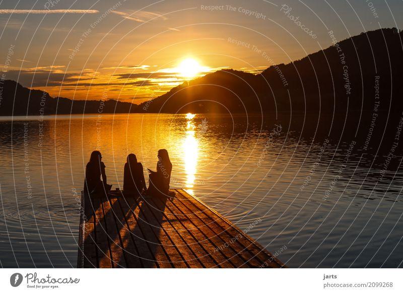 Human being Summer Calm Far-off places To talk Natural Feminine Lake Friendship Horizon Sit Beautiful weather Serene Footbridge Optimism