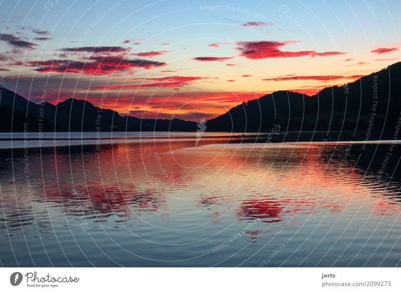 heavenly Sky Clouds Sunrise Sunset Summer Beautiful weather Hill Mountain Lake Fuschlsee Free Fresh Glittering Wet Natural Grateful Serene Calm Hope