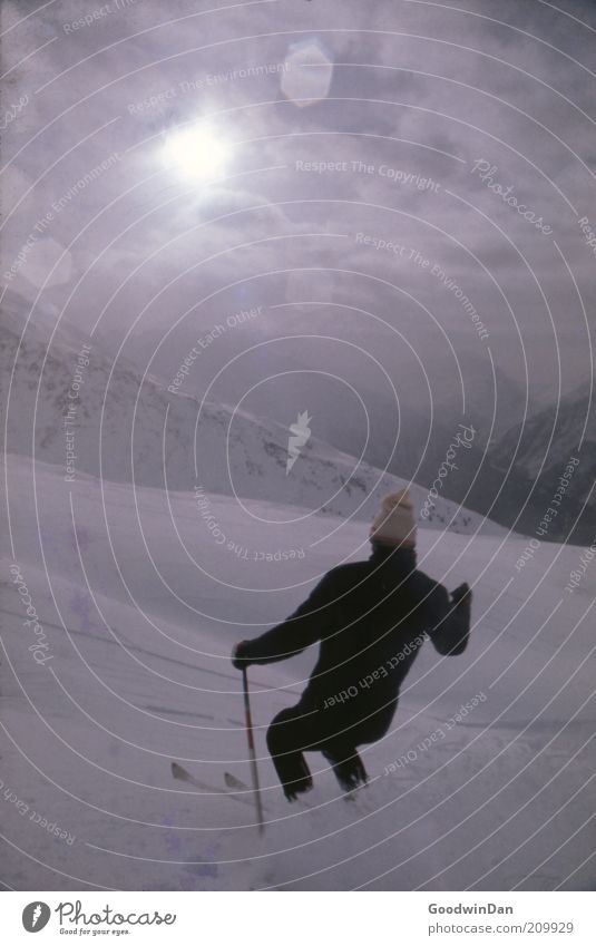 First track Sports Winter sports Skiing Human being Masculine Environment Nature Sunrise Sunset Weather Beautiful weather Snow Breathe Glittering
