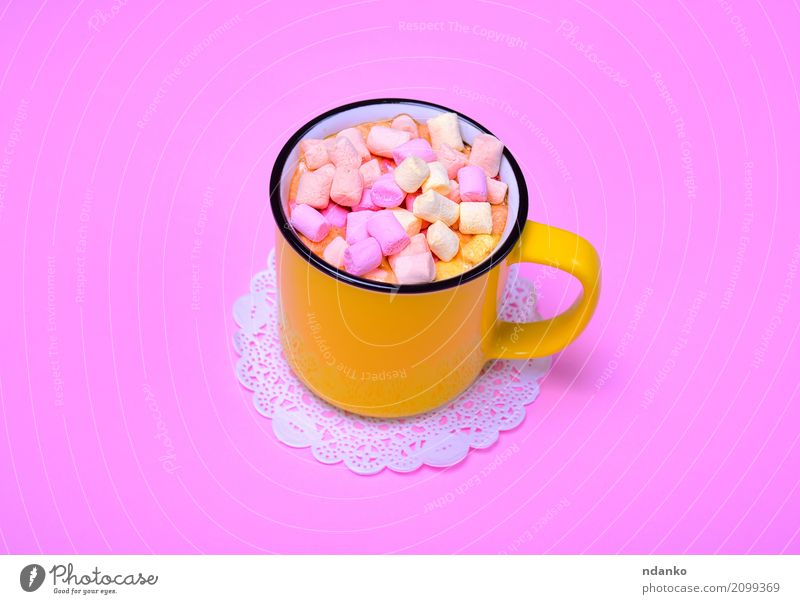 Yellow mug with cocoa Dessert Beverage Hot drink Hot Chocolate Cup Mug Fresh Delicious Above Pink Marshmallow Cocoa tree Slice Top sweet food Aromatic