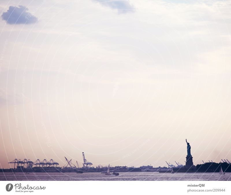 Good Morning New York. Town Capital city Port City Esthetic New York City Statue of Liberty Freedom Symbols and metaphors Harbour Run in Calm Ocean Watercraft
