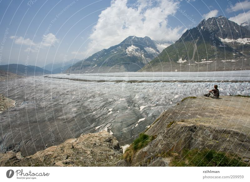 View of the Aletsch Glacier. Summer Mountain Hiking Human being Woman Adults Nature Landscape Clouds Alps Break Aletsch region Aletschhorn Vantage point