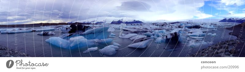 Islands Icebergs (Panorama) Natural phenomenon Azure blue Cold Glacier Iceland Blue ice lagoon Block of ice
