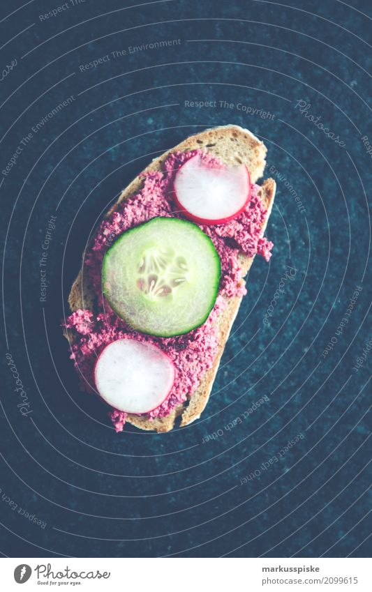Beetroot spread with cucumber and radish Lunch Organic produce Vegetarian diet Diet Fast food Slow food To enjoy Healthy beetroot bread Cream cuke delicious Dip