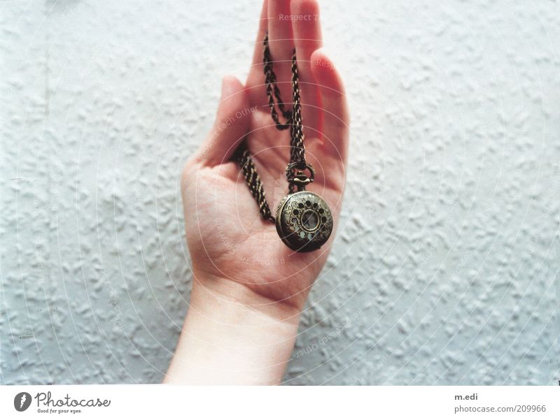 Analog! Hand Fingers 1 Human being Accessory Jewellery Necklace Fob watch Old Colour photo Collector's item Day