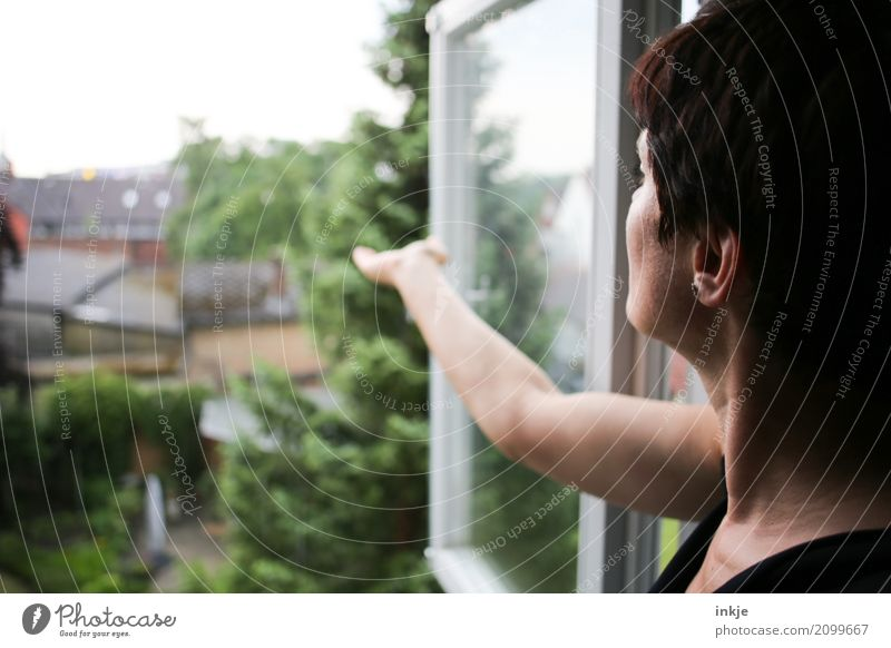 Human being Woman Summer House (Residential Structure) Window Adults Life Environment Lifestyle Spring Garden Head Flat (apartment) Living or residing