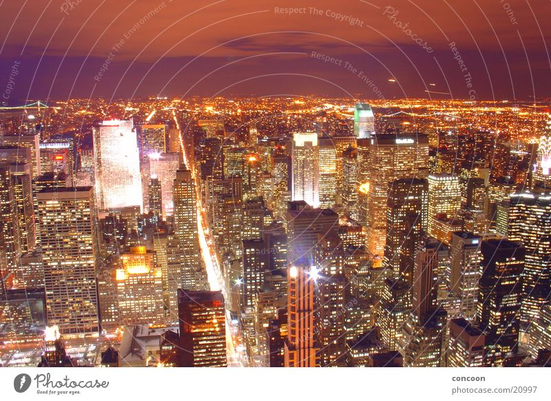 City Lights of New York II High-rise Empire State building New York City North America Skyline pulsating USA Town