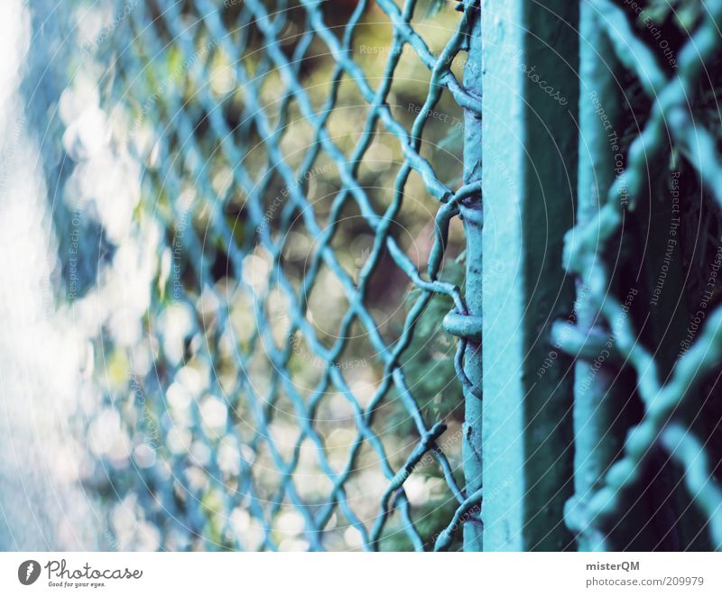 Somewhere Behind. Esthetic Fence Border Boundary Barrier Real estate Visual spectacle Blur Wire netting fence Blue Exclusion zone Garden Park Calm