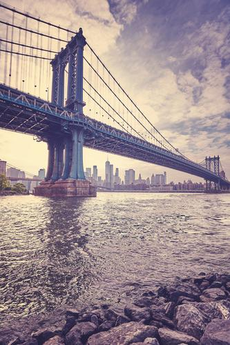 Vintage stylized picture of the Manhattan Bridge, New York City. Vacation & Travel Town Architecture Tourism USA Violet Skyline City trip Sightseeing Jetty