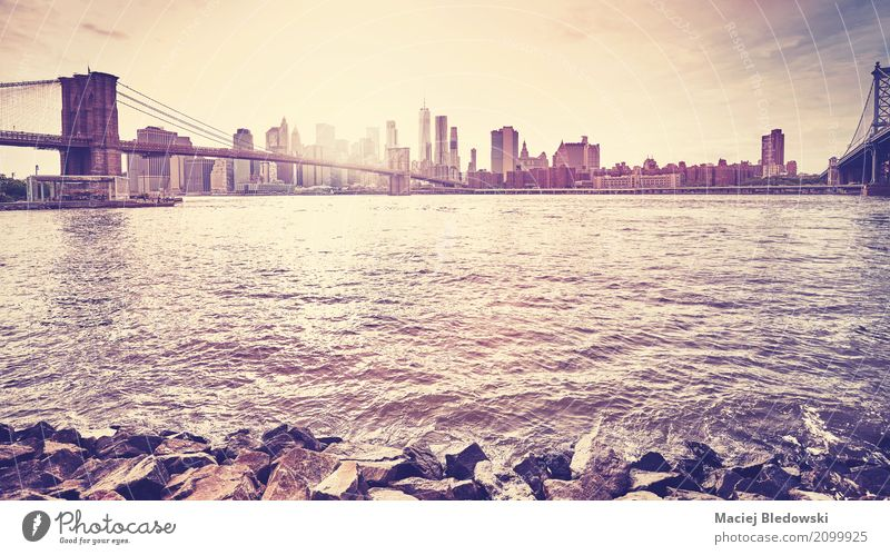 Between bridges in New York. Sightseeing City trip Sun Landscape River Skyline High-rise Bridge Vacation & Travel Sunset Manhattan Brooklyn cityscape filtered