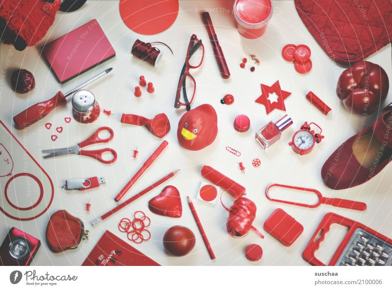 Red Footwear Creativity Things Eyeglasses Many Collection Inspiration Pen Accumulation Household Accumulate Scissors Pepper Alarm clock Squeak duck