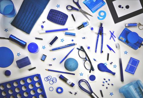Blue Creativity Things Eyeglasses Balloon Many Camera Collection Inspiration Accumulation Sewing thread Household Accumulate Scissors Ink Odds and ends