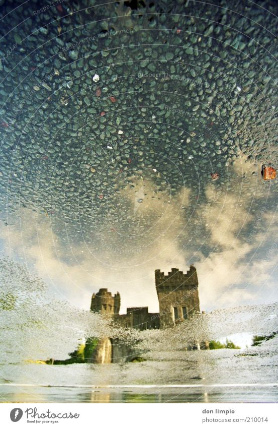 Old Clouds Wet Drops of water Large Tower Castle Gate Past Manmade structures Historic Ireland Tourist Attraction Reflection Morning