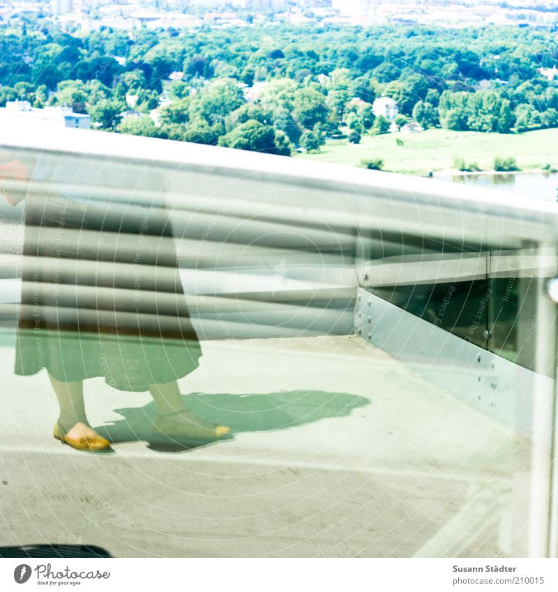 on top of the roof Style Trip Far-off places Feminine Legs Feet 1 Human being Hip & trendy Skirt Woman Roof Elbe Reflection Freedom Steel Pane Footwear Summery