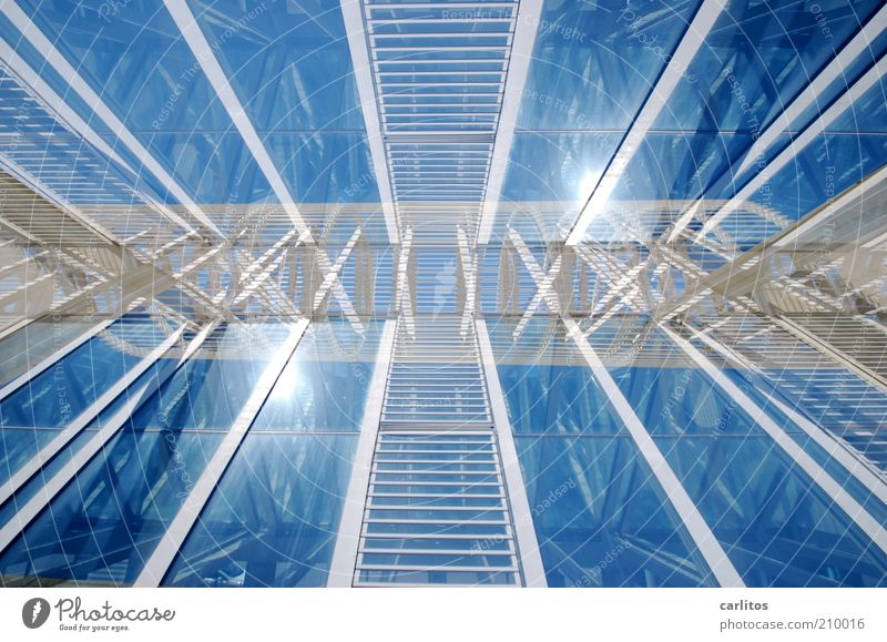 *¶ hicks ¶ I see double ¶ Facade Esthetic Creativity Reflection Double exposure Rotation Blue Glass Metal Construction Ladder Central perspective Sky Sun White