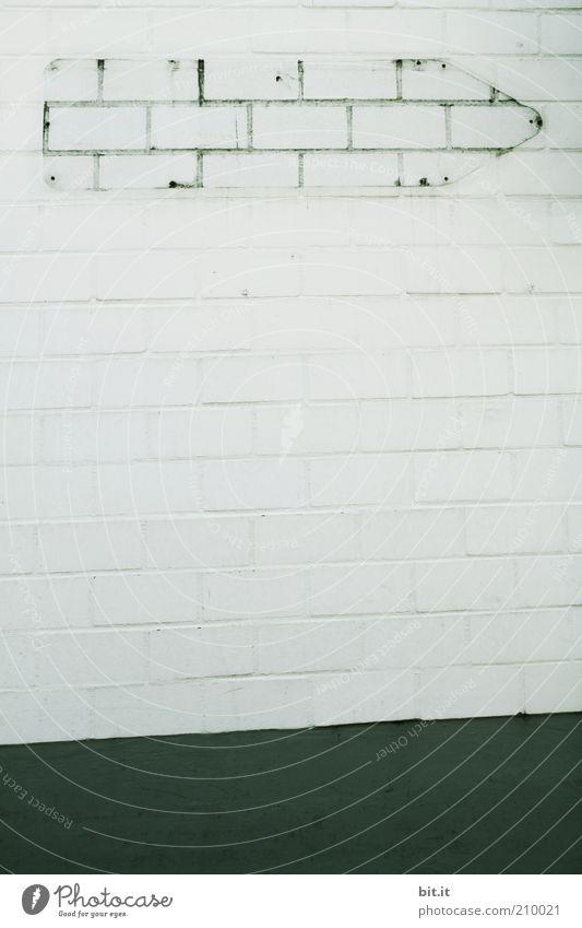 LEERZEICHEN II [LUsertreffen 04|10] Art Wall (barrier) Wall (building) Facade Stone Concrete Sign Signs and labeling Line Arrow Stripe Sharp-edged Gloomy Gray