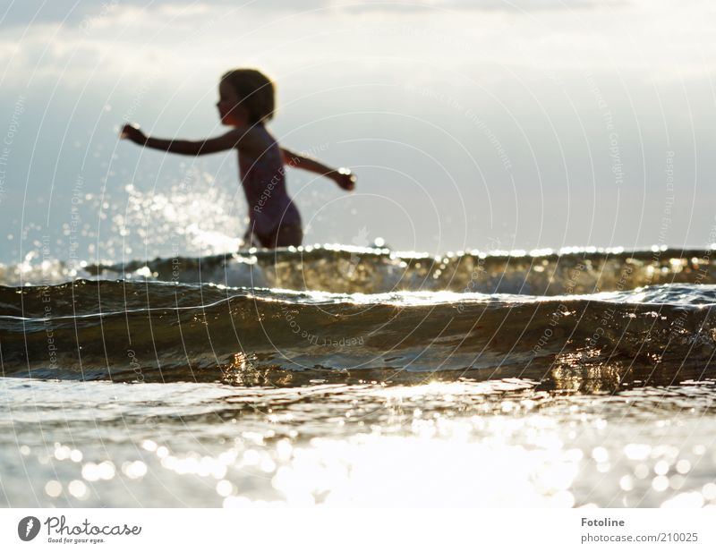 Human being Child Nature Ocean Summer Clouds Warmth Bright Waves Coast Environment Wet Swimming & Bathing Hot Natural