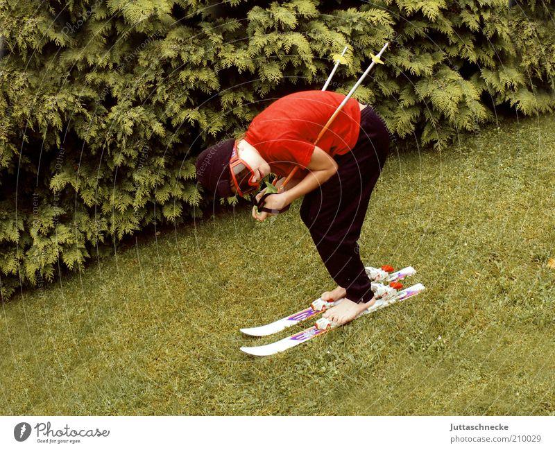 444 / from geht´s Life Winter Garden Winter sports Sportsperson Skiing Skis Ski pole Skiing goggles Boy (child) 1 Human being Summer Grass Meadow Cap