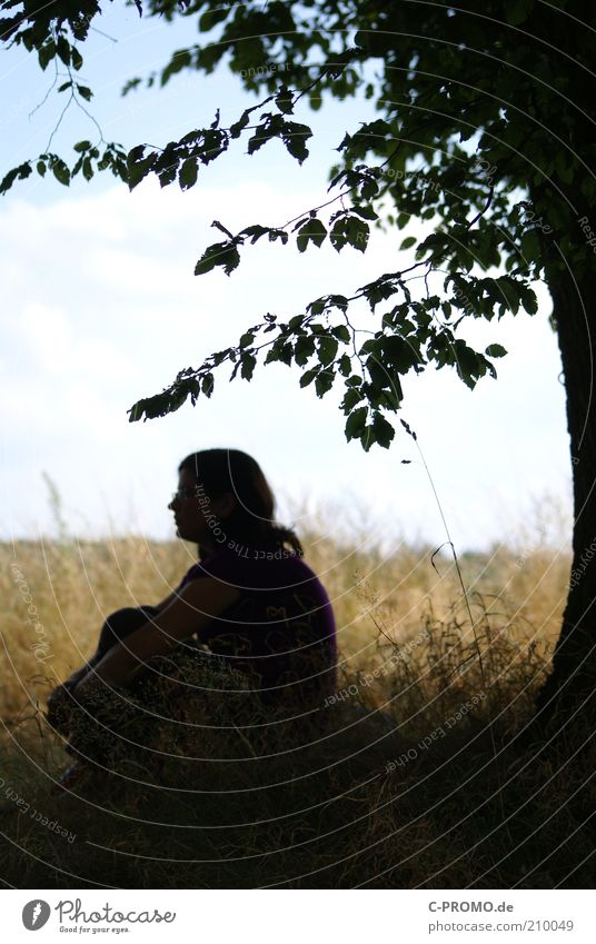 Human being Woman Sky Nature Tree Summer Clouds Loneliness Adults Relaxation Meadow Emotions Grass Head Sadness Dream