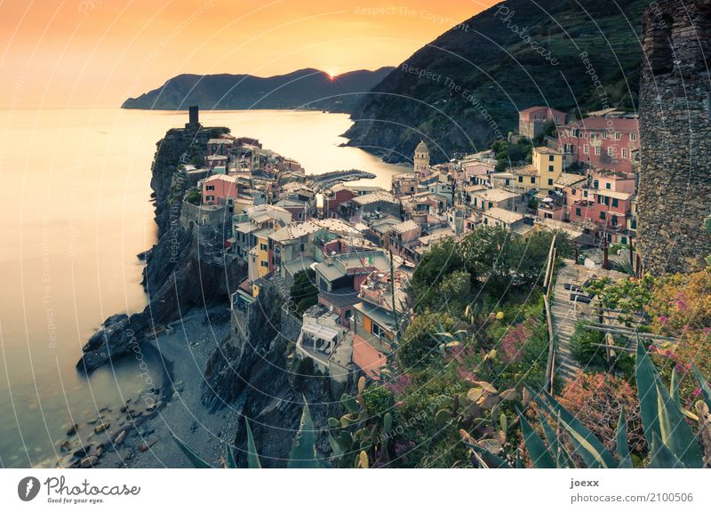 vernazza Tourism Ocean Landscape Beautiful weather Vernazza Italy House (Residential Structure) Tower Wall (barrier) Wall (building) Old Multicoloured Orange