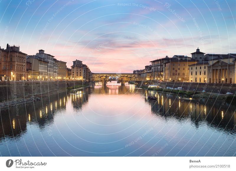 Ponte Vecchio in Florence at sunset Vacation & Travel Tourism Sightseeing City trip Water Cloudless sky Sunrise Sunset River Arno Italy Europe Town Capital city