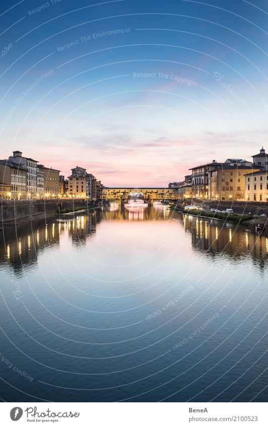 Ponte Vecchio in Florence at sunset Tourism Sightseeing City trip Architecture Cloudless sky Night sky Sunrise Sunset River Arno Italy Town Capital city