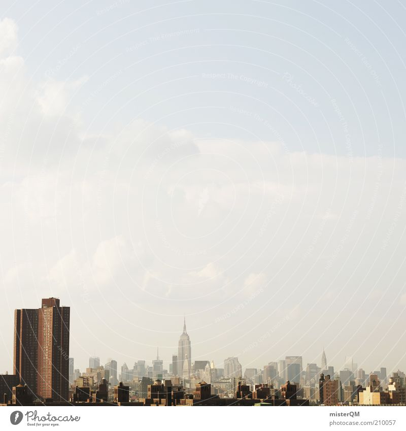 Metropolis. House (Residential Structure) Esthetic Loneliness Uniqueness Smog Skyline New York City USA Town Many High-rise Chrysler Building Stick out Skyward